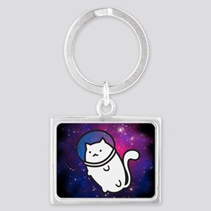 Fat Cat in Space Landscape Keychain