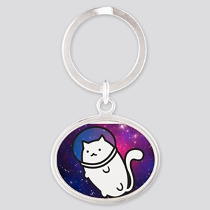 Fat Cat in Space Oval Keychain