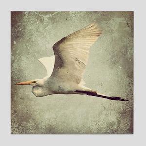 Egret In Flight Tile Coaster