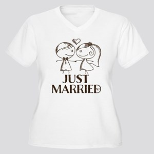 Just Married line drawing couple Plus Size T-Shirt