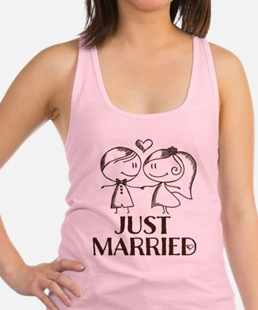 Just Married line drawing couple Racerback Tank To