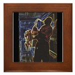 Glowing Sax Framed Tile