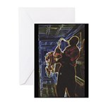Glowing Sax Greeting Cards (Pk of 10)