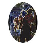 Glowing Sax Oval Ornament