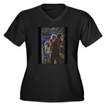 Glowing Sax Women's Plus Size V-Neck Dark T-Shirt