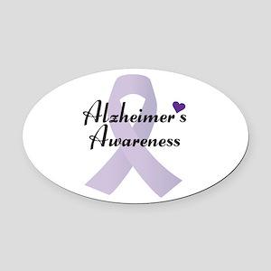Alzheimers Awareness Ribbon Oval Car Magnet