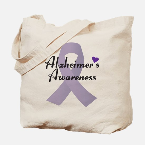 Alzheimers Awareness Ribbon Tote Bag