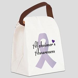 Alzheimers Awareness Ribbon Canvas Lunch Bag