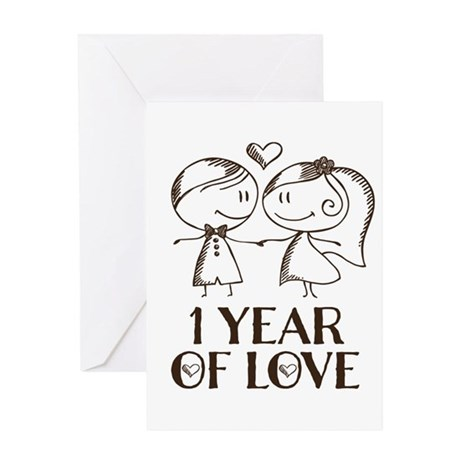 1st Anniversary Couple Line Drawing Greeting Cards By