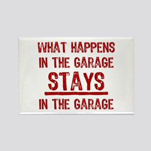 Stays In The Garage Rectangle Magnet