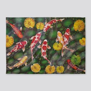Koi Fish Cool 5 X7 Area Rug