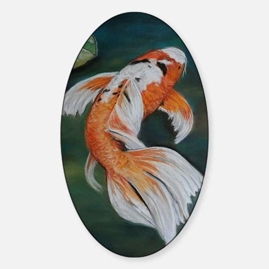 Koi Fish Cool Sticker (Oval)