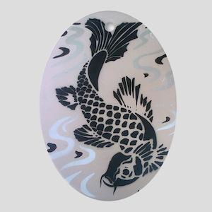 Koi Fish Cool Oval Ornament