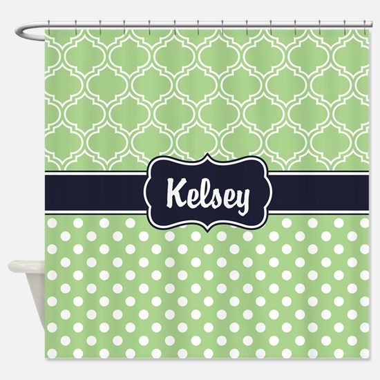 Navy Blue Green Dots And Lattice Shower Curtain