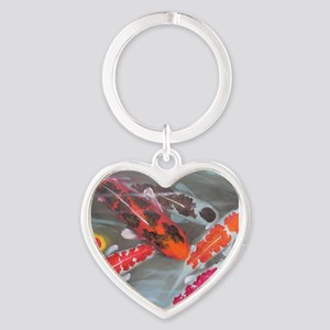 Koi Fish Feng Shui Heart Keychain