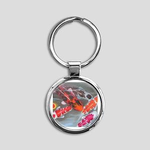 Koi Fish Feng Shui Round Keychain