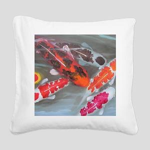 Koi Fish Feng Shui Square Canvas Pillow