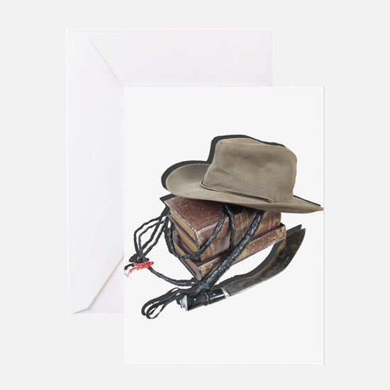 Hat, Whip, Books and Knife Greeting Cards