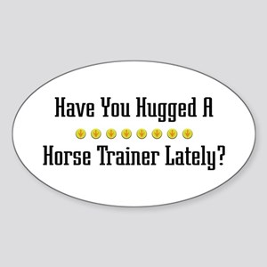 Hugged Horse Trainer Oval Sticker