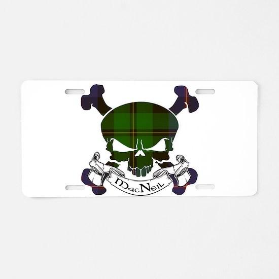 MacNeil Tartan Skull Aluminum License Plate