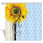 Sunflower Swirl Shower Curtain