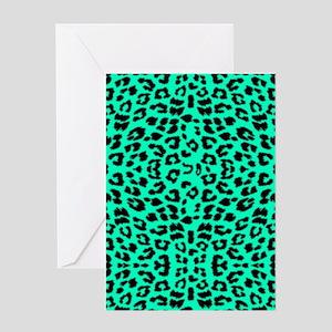 Mint Green Leopard Print Greeting Cards