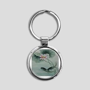 Koi Fish Cute Round Keychain