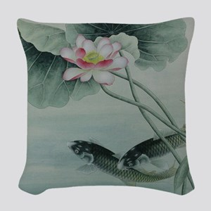Koi Fish Cute Woven Throw Pillow