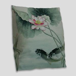 Koi Fish Cute Burlap Throw Pillow