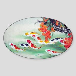 Koi Fish Cute Sticker (Oval)