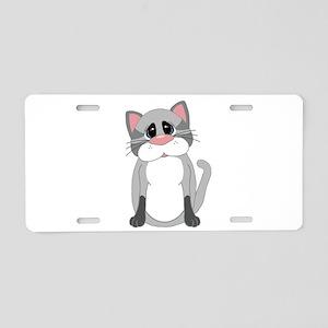 Cute Gray Cat Aluminum License Plate