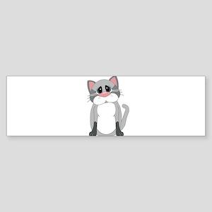 Cute Gray Cat Bumper Sticker