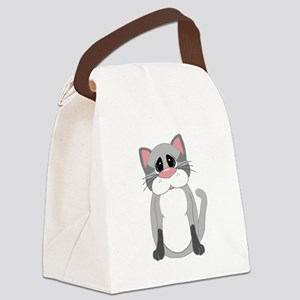 Cute Gray Cat Canvas Lunch Bag