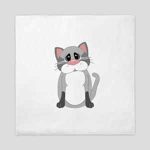 Cute Gray Cat Queen Duvet