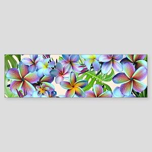 Rainbow Plumeria Pattern Bumper Sticker