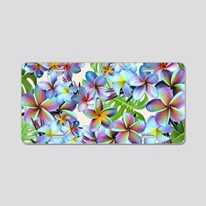 Rainbow Plumeria Pattern Aluminum License Plate