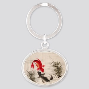 Koi fish Oval Keychain