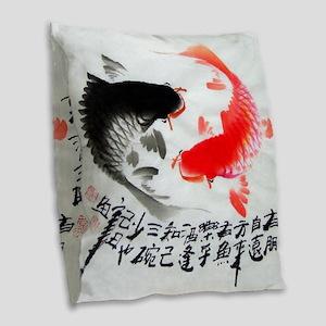 Koi fish Burlap Throw Pillow