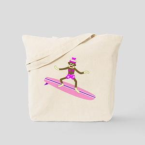 Sock Monkey Surfer Girl Tote Bag