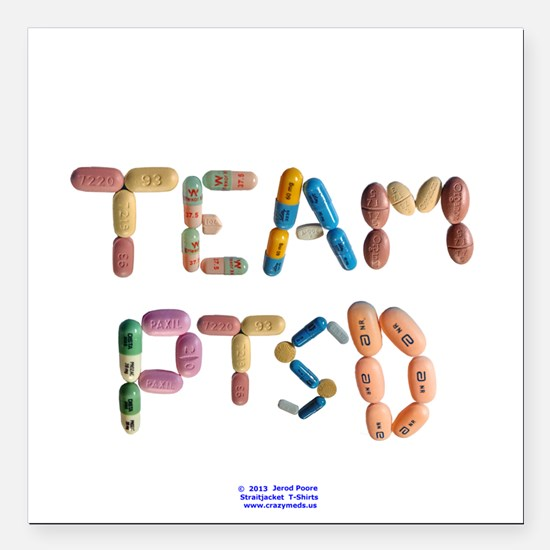 "Team PTSD Button Square Car Magnet 3"" x 3"""