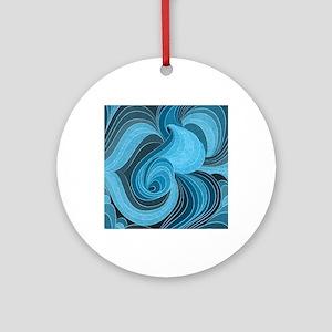 Blue Microchip Round Ornament