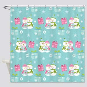 Snowman Couple Christmas Shower Curtain