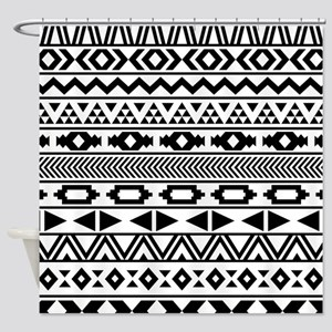Tribal Pattern b/w Shower Curtain