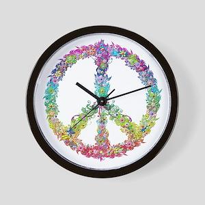 Peace of Flowers Wall Clock