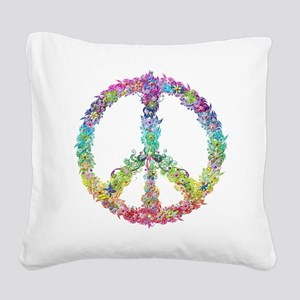Peace of Flowers Square Canvas Pillow