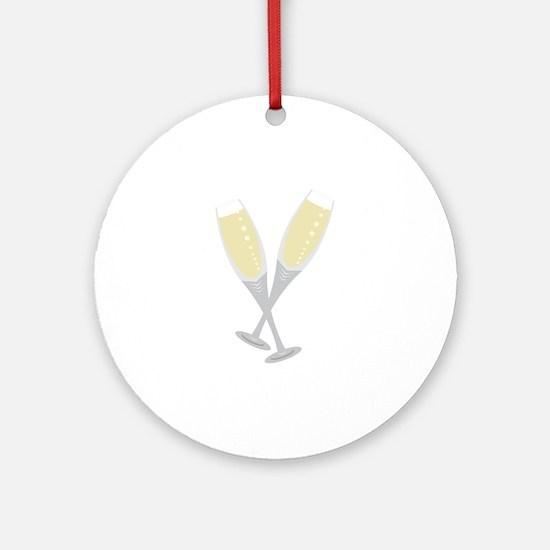 Champagne Flutes Ornament (Round)