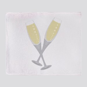 Champagne Flutes Throw Blanket