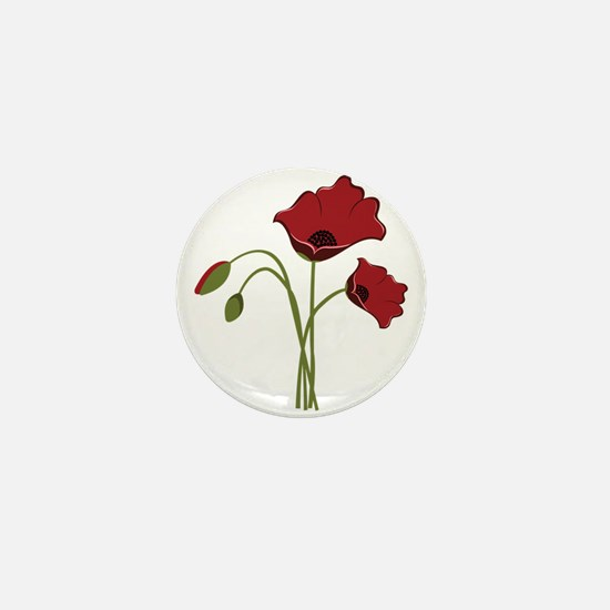 Bunch Of Poppies Mini Button