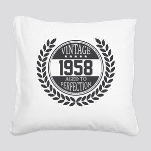 Vintage 1958 Aged To Perfection Square Canvas Pill