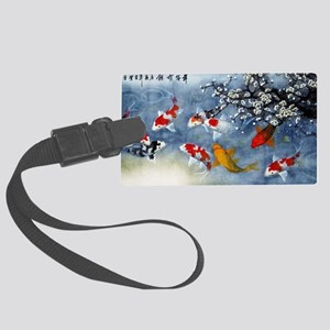 Koi Fish and Flowers Large Luggage Tag